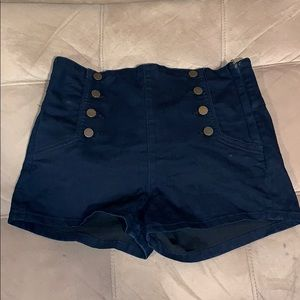 High-waisted Stretch Jean Shorts-Fancy